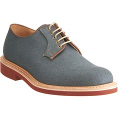 Blue/Gray Linen Derby w/ Red Sole. Interesting because the vamp, counter, and tongue all appear to be a single piece, with the lacing sewn on using the smallest amount of fabric possible. Gives an interesting look. Gentleman, Boyfriend Best Friend, Men's Shoes, Shoe Boots, Casual Shoes, Men Casual, Expensive Shoes, Well Dressed Men, Dress Codes