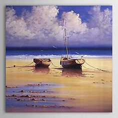 pintado à mão pintura a óleo da paisagem com moldura esticada – BRL R$ 166,74