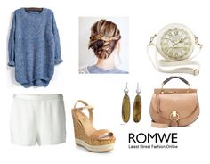"""ROMWE CONTEST WITH PRIZE Dipped Hem Loose Knit Blue Sweater"" by francielerocha ❤ liked on Polyvore featuring Salvatore Ferragamo, T By Alexander Wang, NOVICA and Chloé"