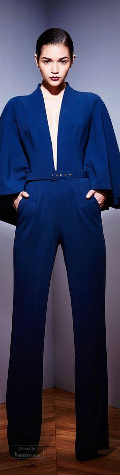 Zuhair Murad.Fall 2015 cobalt blue deep v front cape sleeved jumpsuit