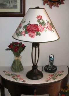 Cross Stitch lamp shade Modern Embroidery, Ribbon Embroidery, Cross Stitch Embroidery, Embroidery Designs, Brick Wall Kitchen, Exposed Brick Walls, Cross Stitch Borders, Lamp Shades, Home Textile