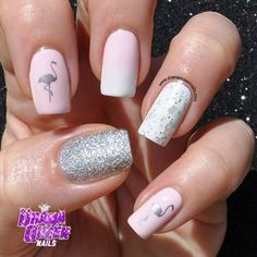 Instagram photo by dramaqueennails -flamingo on ring finger! Wish I could figure out how to do this!