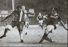 Joe McBride flashing his centre across goal for Peter Eastoe to score for Everton against West Bromwich Albion 1980-81