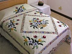 amish basket quilt pattern | Pastel Blue and Rose Spring Basket Quilt