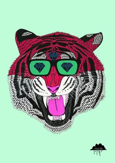 Gino the Majestic Tiger Art Print by Mulga the Artist