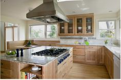 Like the Birch wood cabinets - Hillsdale kitchen - contemporary - kitchen - denver - by Lawrence and Gomez Architects Cherry Wood Kitchen Cabinets, Cherry Wood Kitchens, Birch Cabinets, Hickory Cabinets, Shaker Kitchen Cabinets, Maple Cabinets, Kitchen Cabinet Colors, Cherry Kitchen, Open Cabinets