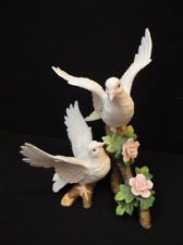 2 White Doves Porcelain Figurine-Shabby Cottage Chic Pink Flowers- Homco Styled?