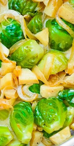 Creamy Dijon Mustard Brussels Sprouts with Apples and Onions