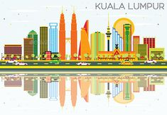 Kuala Lumpur Skyline with Color Buildings, Blue Sky and Reflections.