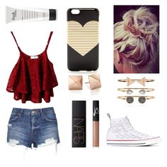 """""""Casual"""" by pastelsummer ❤ liked on Polyvore featuring Topshop, NARS Cosmetics, J.Crew, Converse and Accessorize"""