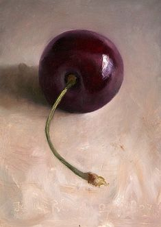 """Jos Van Riswick. Black Cherry.  """"Started to work on a painting with a chinese bowl for my publisher. Want to put cherries in it, so I made this cherry-study today. Problem with black cherries on a light background is, that they are not much more than a black mass with some reflections in it..."""""""