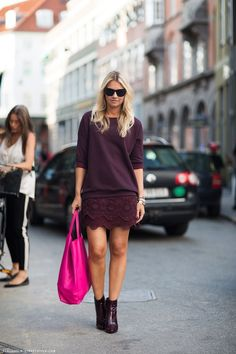 eggplant lace skirt and blouse + magenta bag