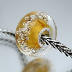 Amber Bubbles Silver Core Bead by Susan Lawson Lampwork Glass Beads, via Flickr