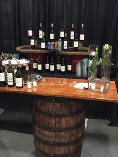 Wine anyone? We love using our rustic barrel top bars. Corporate Events, Liquor Cabinet, Catering, Barrel, Stuffed Peppers, Rustic, Wine, Storage, Top