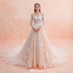 Elegant Champagne Wedding Dresses 2019 A-Line / Princess Off-The-Shoulder Long Sleeve Backless Pierced Appliques Lace Beading Cathedral Train Ruffle - Wedding Outfit Western Wedding Dresses, Dream Wedding Dresses, Bridal Dresses, Wedding Gowns, Bridesmaid Dresses, Champagne Wedding Dresses, Wedding Lace, Dresses Dresses, Dance Dresses
