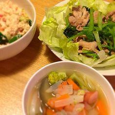 ひたすらヘルシーヘルシーヘルシー!! - 9件のもぐもぐ - ポトフと豚肉と小松菜の炒め物、中華風サラダのダイエットメニュー!! by asa0618guri