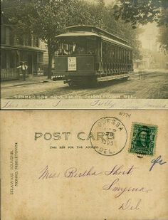 1906 postcard featuring a 'Summer Trolly' Car on O.S.M.R.Y Middletown, Del. From the George and Irene Caley Postcard Collection donated to the Delaware Public Archives.  www.archives.delaware.gov