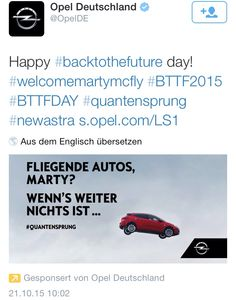 Opel und die fliegenden Autos am #BTTFDay