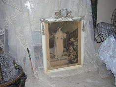 Antique~1920's SHABBY BARBOLA GESSO ROSES~FRAME~BESSIE PEASE GUTMANN BRIDE PRINT #Vintage