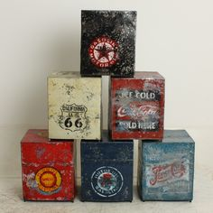 Stool Square Oil Drum Route 66   Kids   Furniture
