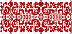 Párnavég (szilágyi varrottas, kis bukros) mintája, eredetileg szálánvarrott és keresztszemes hímzéssel. Hungarian Embroidery, Folk Embroidery, Cross Stitch Embroidery, Embroidery Patterns, Cross Stitch Patterns, Cross Stitch Samplers, Red Pattern, Knitting, Charts