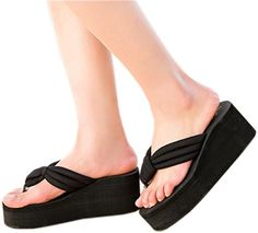 c80f586de5 Bettyhome Women Girls Fashion Summer Sexy Comfortable Thongs Casual Wedges  Sandals High Heels Beach Flip Flops Slippers 6 BM USEUR 37 black -- You can  find ...