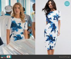 Petra's white and blue floral dress on Jane the Virgin. Outfit Details: https://wornontv.net/86416/ #JanetheVirgin