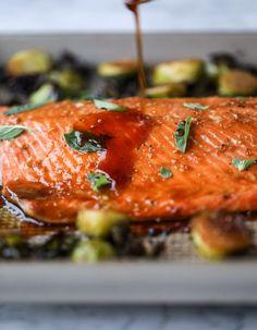sheet pan honey garlic salmon and brussels I howsweeteats.com #sheetpan #salmon #honeygarlic #brusselssprouts