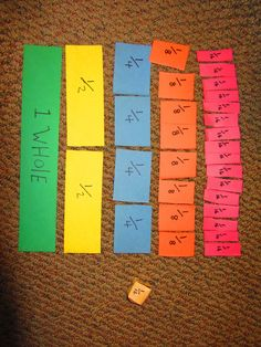 Fraction Fun - dice game for teaching equivalent fractions Teaching Fractions, Math Fractions, Equivalent Fractions, Comparing Fractions, Dividing Fractions, Multiplication, Math Resources, Math Activities, Fraction Activities