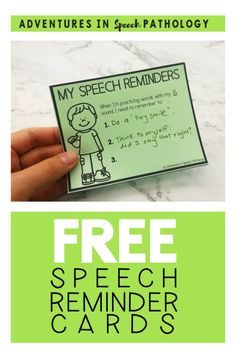 Download these free speech reminder cards so that you can write down and give cues to your students. These can be helpful to give to teachers and parents to help a student remember how to say their speech sounds correctly. Speech Pathology, Speech Language Pathology, Speech And Language, Speech Therapy Activities, Language Activities, Childhood Apraxia Of Speech, Speech Delay, Articulation Therapy, Free Teaching Resources