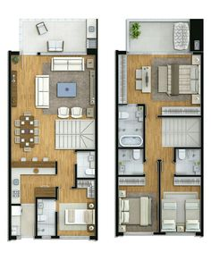 Shipping Container House Plans Contain Containerideas - Home Decor - Marecipe Modern House Plans, Small House Plans, House Floor Plans, Narrow House, Duplex House, Apartment Plans, Suites, Architecture Plan, House Layouts