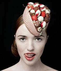 Now you can indulge in a whole box of chocolate truffles without any calories............ such a cheeky little hat for any burlesque lovely........... a must have show stopper!    These truffles were individually handmade from felted wool balls, fabric paint and beads.......they sit on a mocha buntle base    Photography by Rikard Osterlund : rikard.co.uk