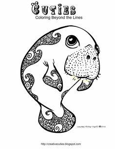 Creative Cuties: Manatee coloring page