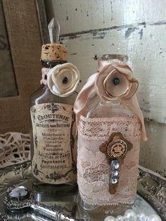 Rhinestone Embellished Crown Key upcycled bottle