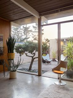 Indoor Courtyard Design Idea With Unique Chairs And Potted Plants Cool growing trees and potted plants right on the terrace that is inside the house. They make it feel fresh and lively. Eichler Homes, Mid Century Modern House, Home, Courtyard Design, Interior Architecture, Modern House Design, Modern House, Modern Interior Design, Modern Interior