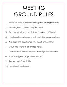 Tips on how to conduct an effective meeting with some ground rules. Business Management, Management Tips, Business Planning, Business Tips, Management Quotes, Change Management, Leadership Coaching, Leadership Development, Leadership Quotes