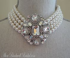 Great Gatsby Bridal Necklace Set with Rhinestone Brooch Swarovski pearls - wedding jewelry by AlexiBlackwellBridal, $135.00