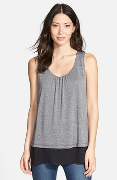 Pleione Double Layer Mixed Media Top available at #Nordstrom