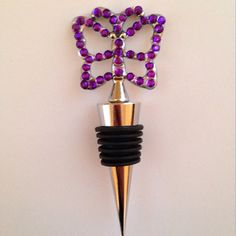 Sparkling Purple Butterfly wine stopper by SparkleNShineCC on Etsy Wine Stoppers, Purple Butterfly, Wind Chimes, Sparkle, Unique Jewelry, Handmade Gifts, Outdoor Decor, Vintage, Etsy