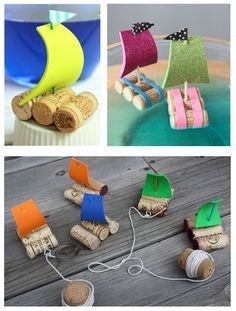 Cute little # cork boats – The perfect toy for a day at the lake. - DIY Crafts for Kids Kids Crafts, Summer Crafts, Projects For Kids, Diy And Crafts, Games For Kids, Diy For Kids, Cork Crafts, Diy Toys, Preschool Activities