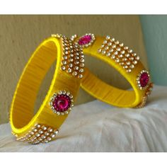 Silk thread jewels to match your silk sarees. To order these pls whatsapp on 94929 91857 Silk Thread Bangles Design, Silk Thread Necklace, Silk Bangles, Beaded Necklace Patterns, Bridal Bangles, Thread Jewellery, Bohemian Accessories, Handmade Jewelry, Quilling Earrings