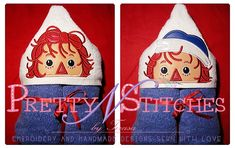 4X4 Set of 2 Raggedy Ann and Andy inspired Applique Peeker Embroidery Designs  by PrettyNStitches, $8.80 USD