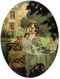 Tea In The Garden At The Chateau de Rozieres by Henry Salem Hubbell (1870 – 1949)