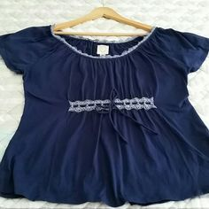 Ric Rac top Worn and washed once only, like new condition,  adorable subtle embroidery neckline, generous side of large, bust 20' strechy,  cotton, lenght 25'. Anthropologie Tops Tees - Short Sleeve