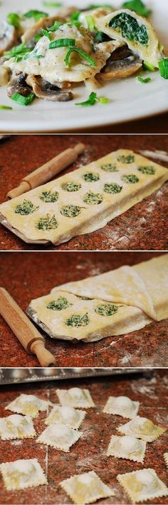 Ravioli with goat cheese and spinach filling in parmesan cream sauce - Joybx.
