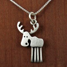 Tiny moose necklace / pendant by StickManJewelry on Etsy