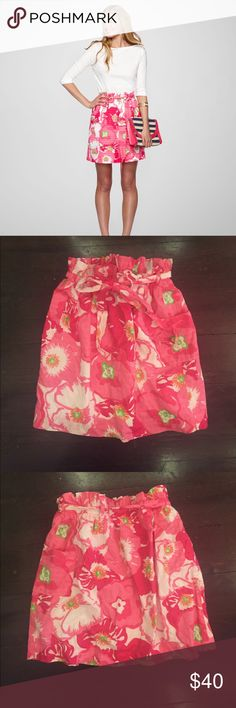 Lilly Pulitzer Avery Skirt Lilly Pulitzer Avery Skirt in print Hotty Pink Cherry Begonias. Tie at the waist with pockets. Great condition! Lilly Pulitzer Skirts