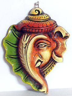 Ganesha on Conch - Wall Hanging (Terracotta))