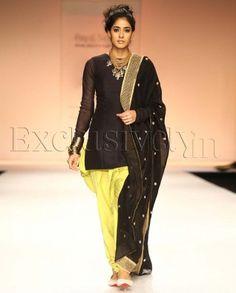 #Exclusivelyin, #IndianEthnicWear, #IndianWear, #Fashion, Diva Black Fitted Kurti With Kiwi Lime Jodhpur Pants