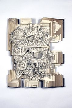 Brian Dettmer Manual of Engineering Drawing 2010 Altered Book x x Image courtesy of the Artist and MiTO Gallery Book Sculpture, Sculptures, Brian Dettmer, Doodle Sketch, Art For Art Sake, Mechanical Pencils, Technical Drawing, Mechanical Engineering, Altered Books